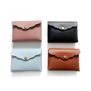 Four Leather Scalloped Cardholder Structured