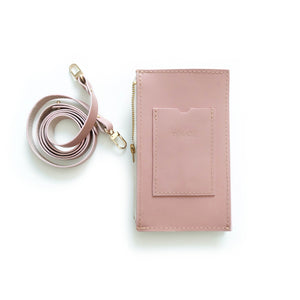 Dusty Rose Travel Purse (Cellphone Case) Pink cellphone sling with card sleeve and leather strap