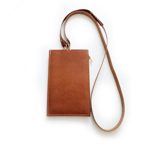 Cognac Travel Purse (Cellphone Case) Made to order
