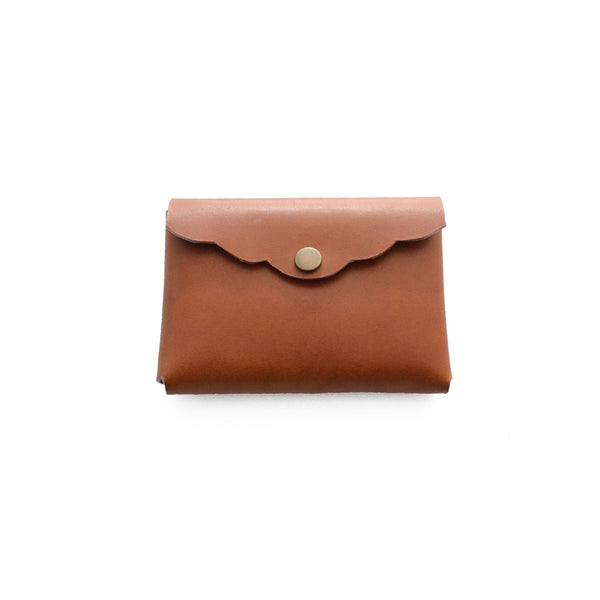 Scalloped Cardholder - Cognac
