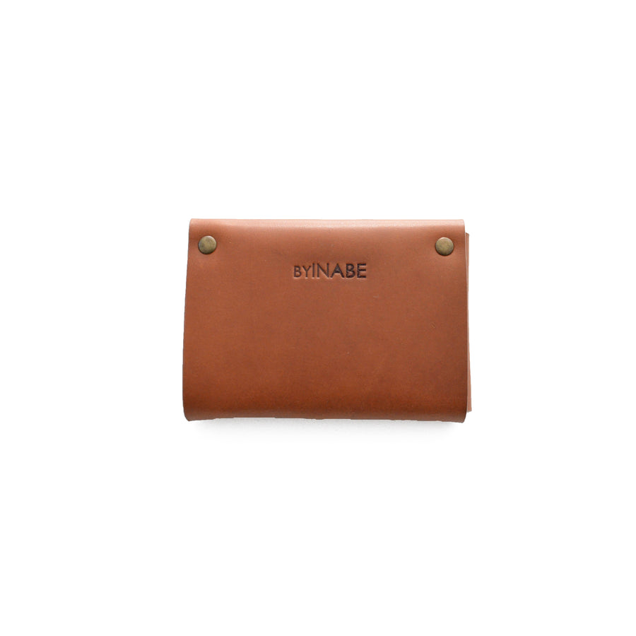 Leather Scalloped Cardholder - Cognac with button snap