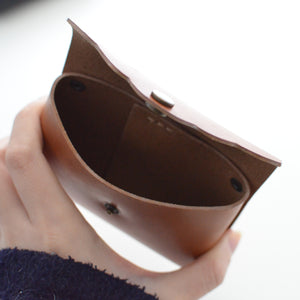 Scalloped Cardholder - Cognac inside view