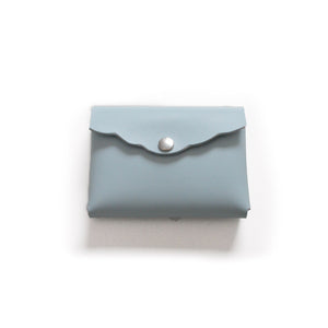 Leather Scalloped Cardholder - Powder Blue/Silver Hardware