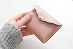 holding Scalloped Cardholder - Dusty Rose with button snap