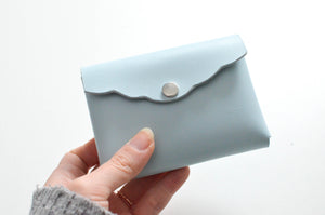 holding Scalloped Cardholder - Powder Blue/Silver Hardware