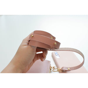 Dusty Rose Travel Purse (Cellphone Case) pink adjustable leather strap
