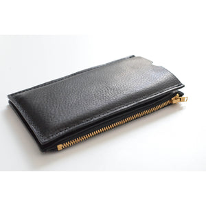 Pebbled Black Travel Purse (Cellphone Case) right side view with zippered wallet