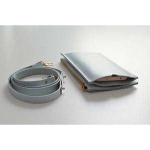 Powder Blue Travel Purse (Cellphone Case) top view and leather strap