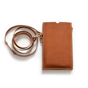 XL Cognac Travel Purse (Cellphone Case)