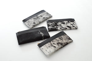 Salt and pepper cowhide Slim Wallet