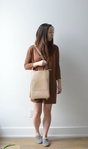 "Sand- 13"" Vertical Convertible Tote"