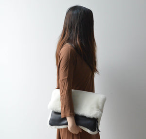 Shearling Fold-over Clutch