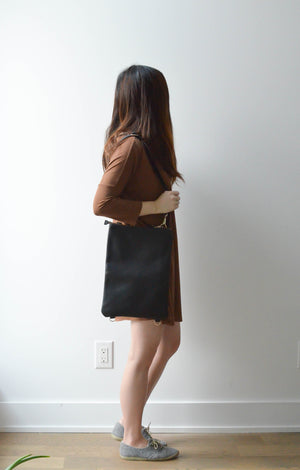 "Black- 13"" Vertical Convertible Tote"