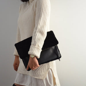 Shearling Leather Clutch in Black