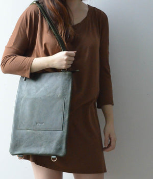 "Green- 13"" Vertical Convertible Tote"