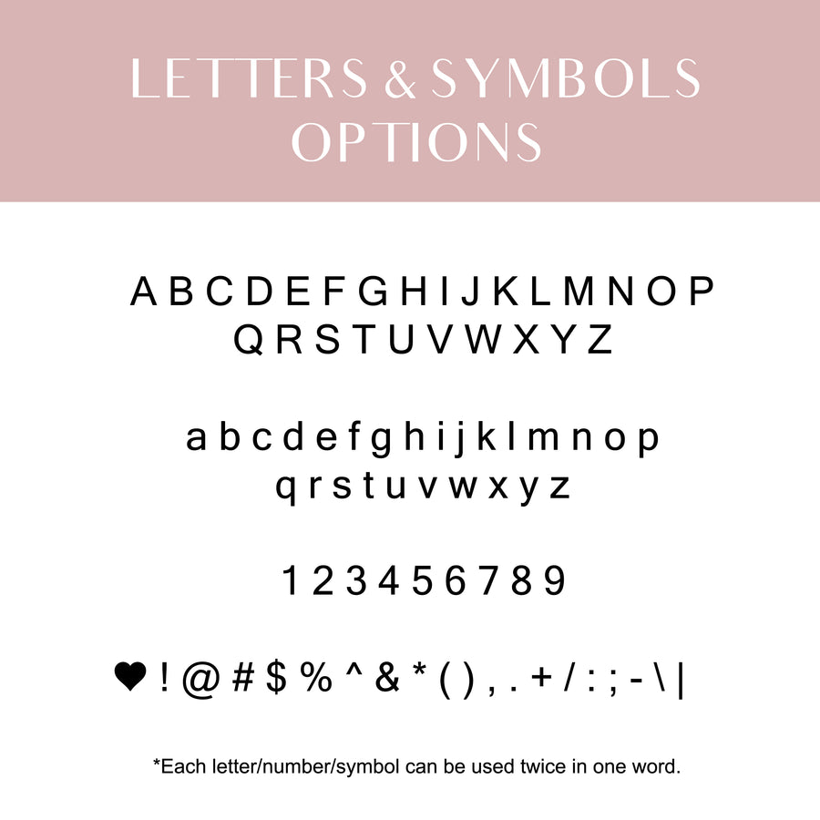 Monogramming and Symbols (Add-on item) Custom Stamping