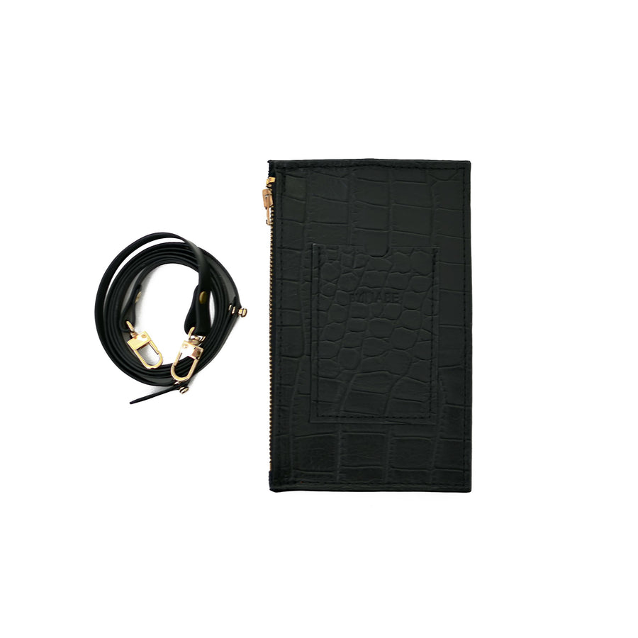 Black Croc Embossed Travel Purse (Cellphone Case)