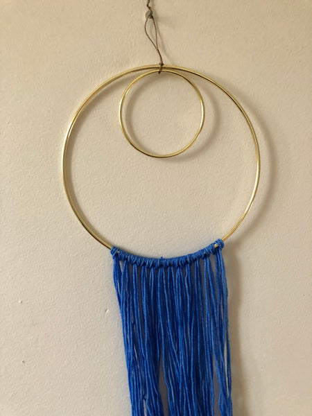 My Blue Heart- Brass and Wool Wall Hanging