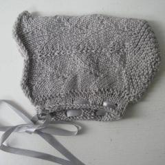 Grey Wool Baby Bonnet