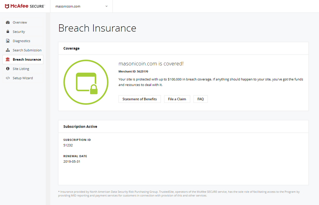 Masonicoin.com has a Breach Insurance Policy