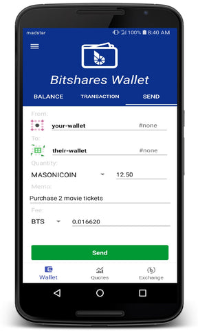 Masonicoin on Bitshares app