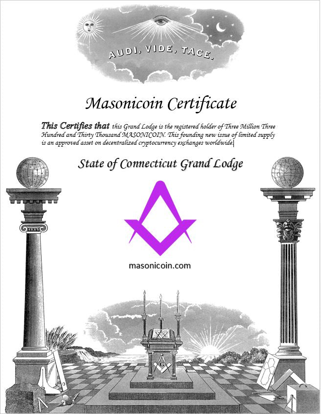 Masonicoin certificate to Grand Lodges