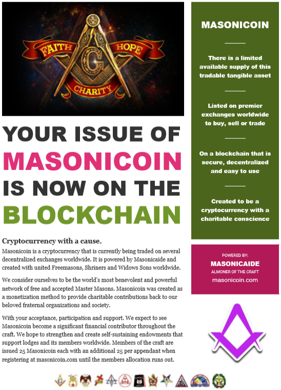 Masonicoin Grand Lodge Notice to Brethren