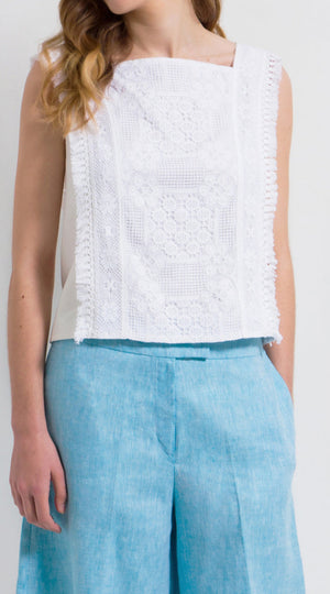 Tasseled lace denim cotton top