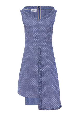 Crossweave check cotton high low dress