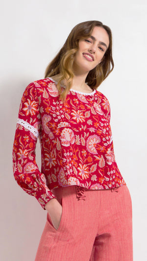 Lace floral print cotton top