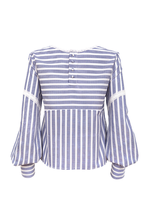 Lace cotton stripe top