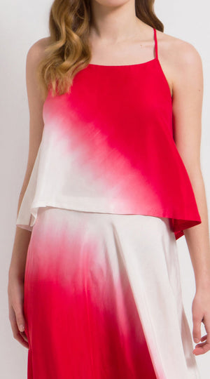 Crossback silk ombre camisole top