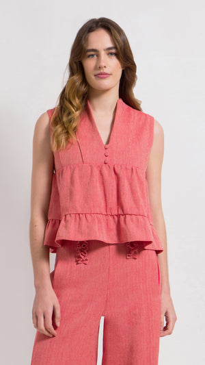 Herringbone cotton ruffle tiered top