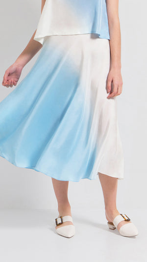 Ombre bias cut silk midi skirt