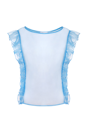 Sheer organza ruffle top