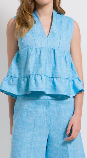 Linen ruffle tiered top