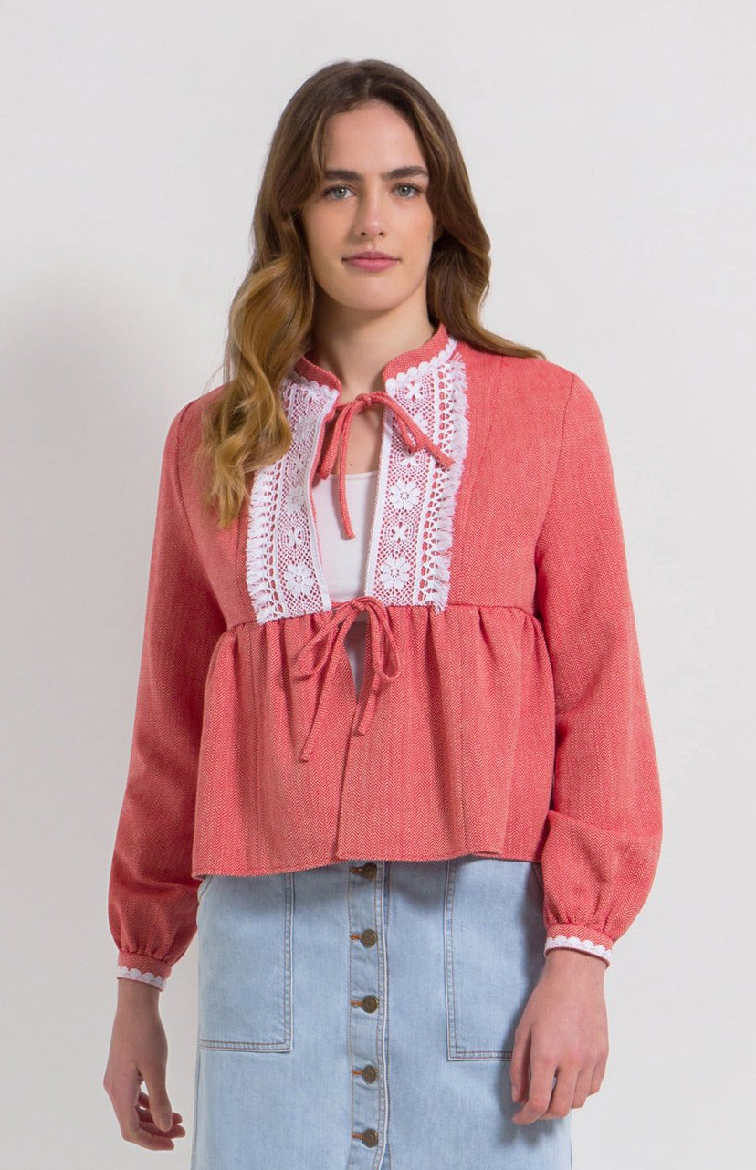 Tasseled lace herringbone cotton jacket