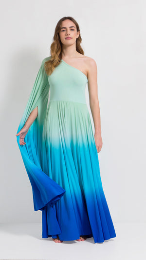 Ombre maximal sleeve one-shoulder gown