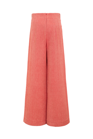 Herringbone cotton ruffle trousers