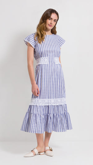 Tasseled cotton stripe midi dress