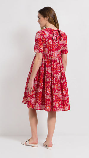 Floral print cotton ruffle dress