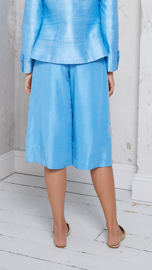 Embroidered silk culottes
