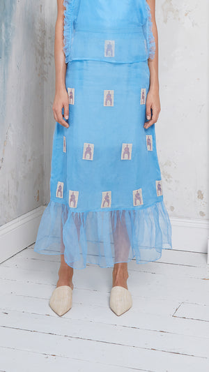 Embroidered silk organza maxi skirt