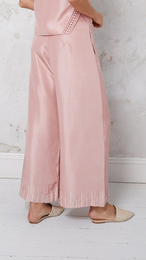 Embroidered silk trousers