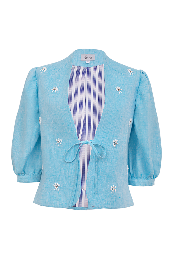 Embellished linen puff sleeve jacket