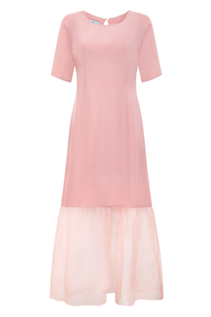 Raglan sleeve silk organza dress