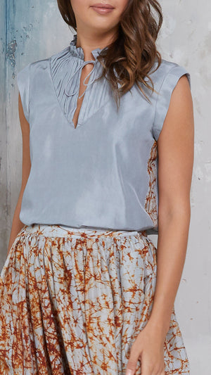ruffle silk top