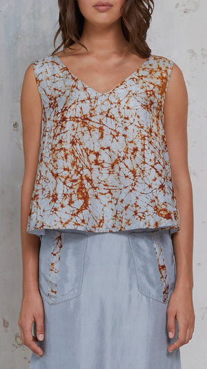 silk print open back top