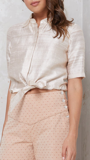 silk cropped shirt