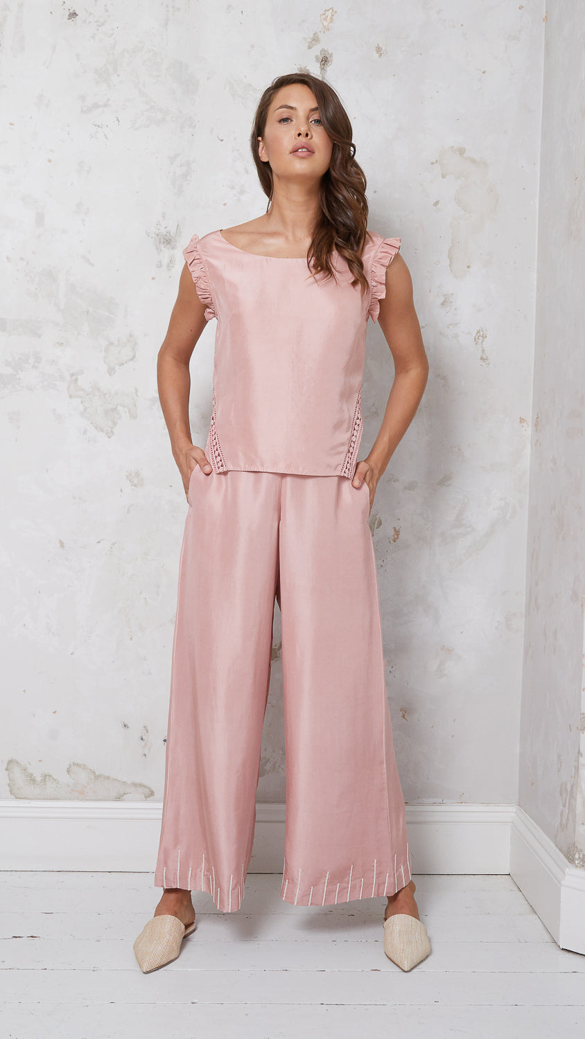 Embroidered silk wide-leg trousers